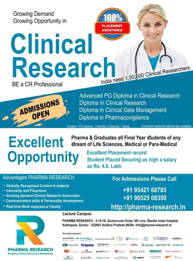 Advanced PG Diploma in Clinical Research & Pharmacovigilance
