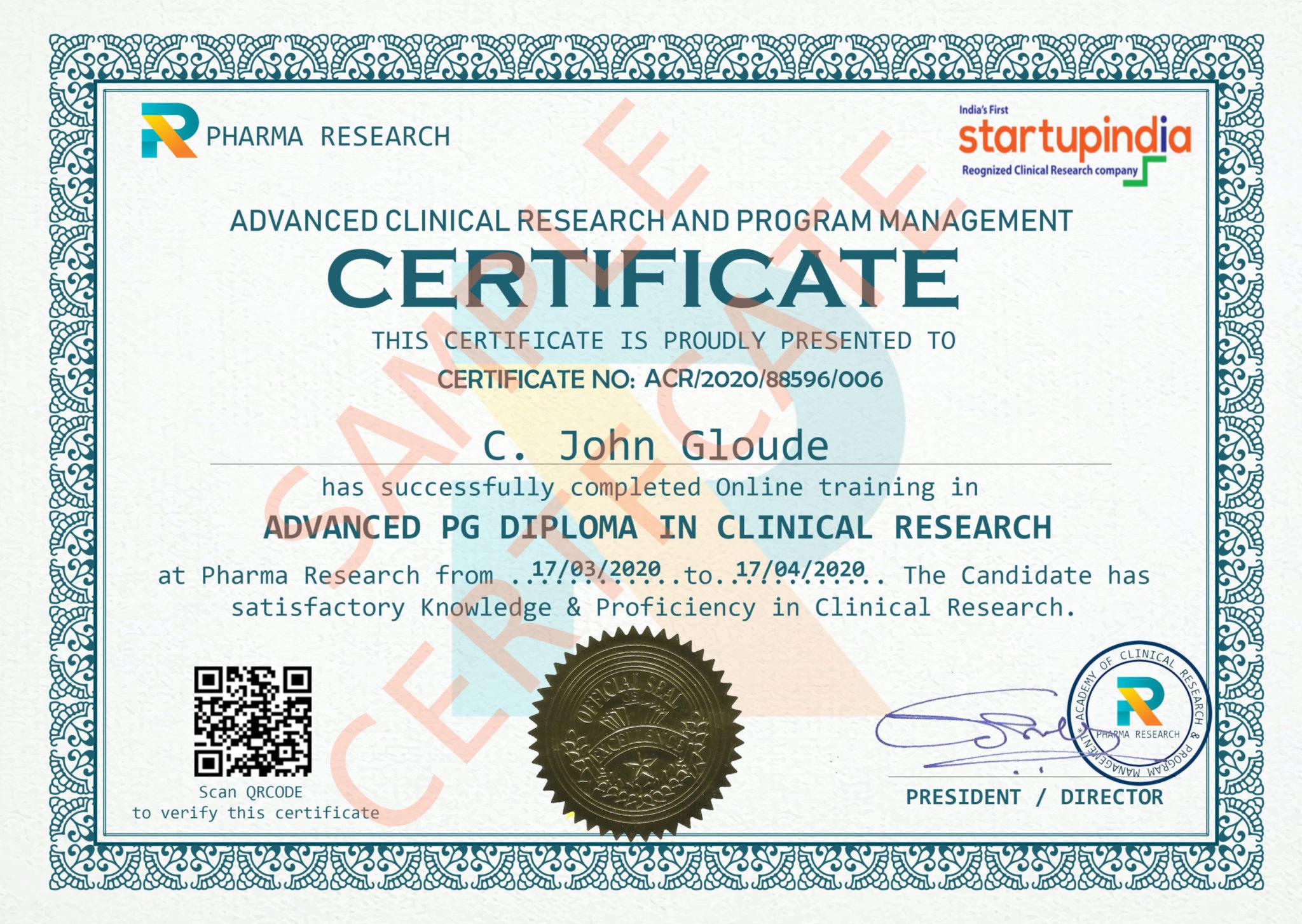 certificate order sample research clinical pharmacovigilance cdm final